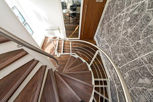 Bespoke Spiral Staircase London Wiath Walnut Treads