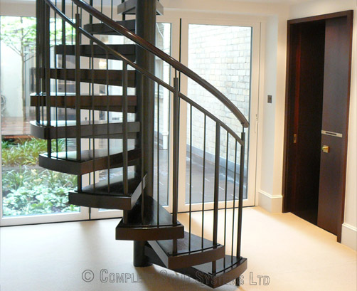 Spiral Staircase Manchester With Wenge Treads And Handrail