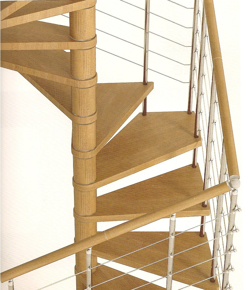 genius spiral staircase 050 with horizontal bars in stainless steel
