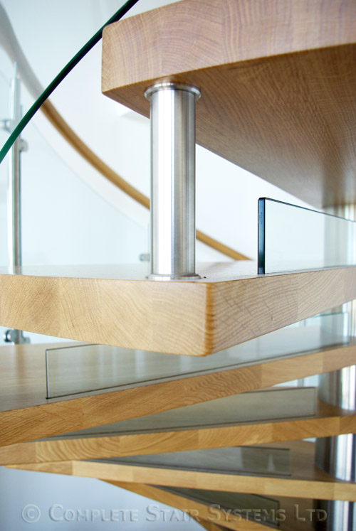 Spiral Staircase Ayrshire With Curved Glass Panels