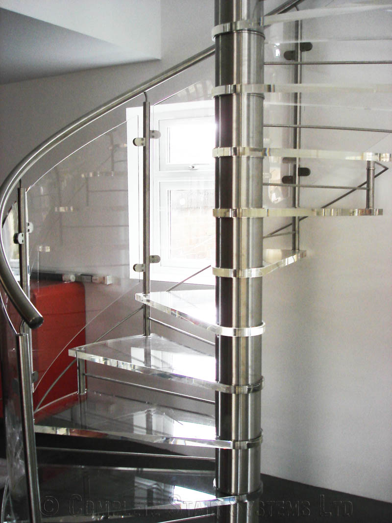 Spiral staircase romsey bespoke acrylic treads with for Spiral stair