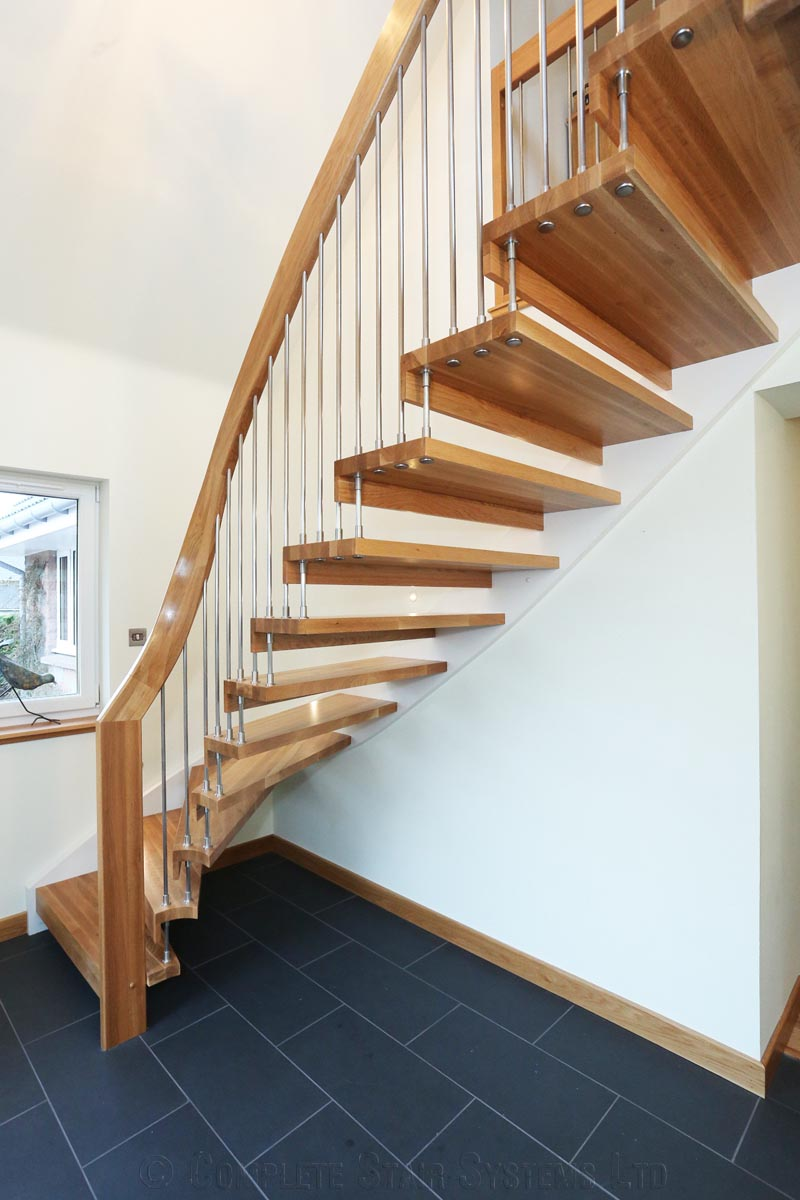 Bespoke timber staircase aberdeen with floating treads for Free floating stairs