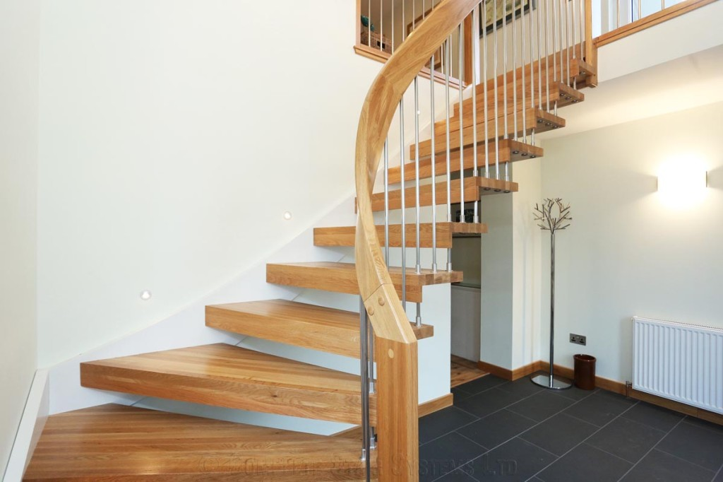Bespoke timber staircase aberdeen with floating treads - Escaleras rusticas ...