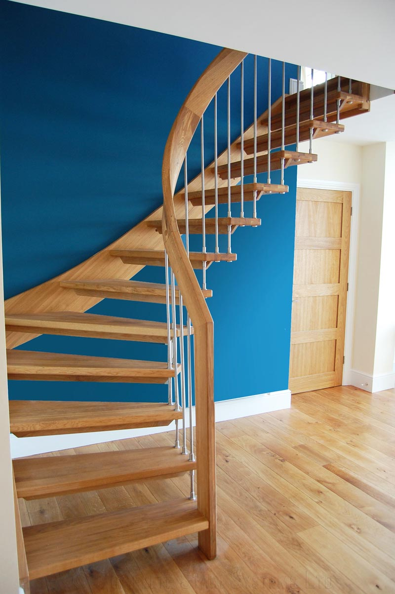 Bespoke timber staircase with floating oak treads click to view pictures - Stairs in a small space model ...