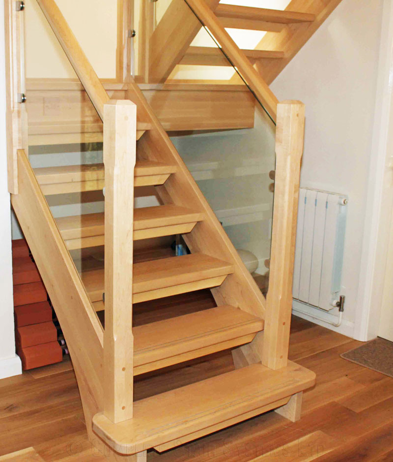 Bespoke timber staircase northwich with a half platform for Quarter landing staircase