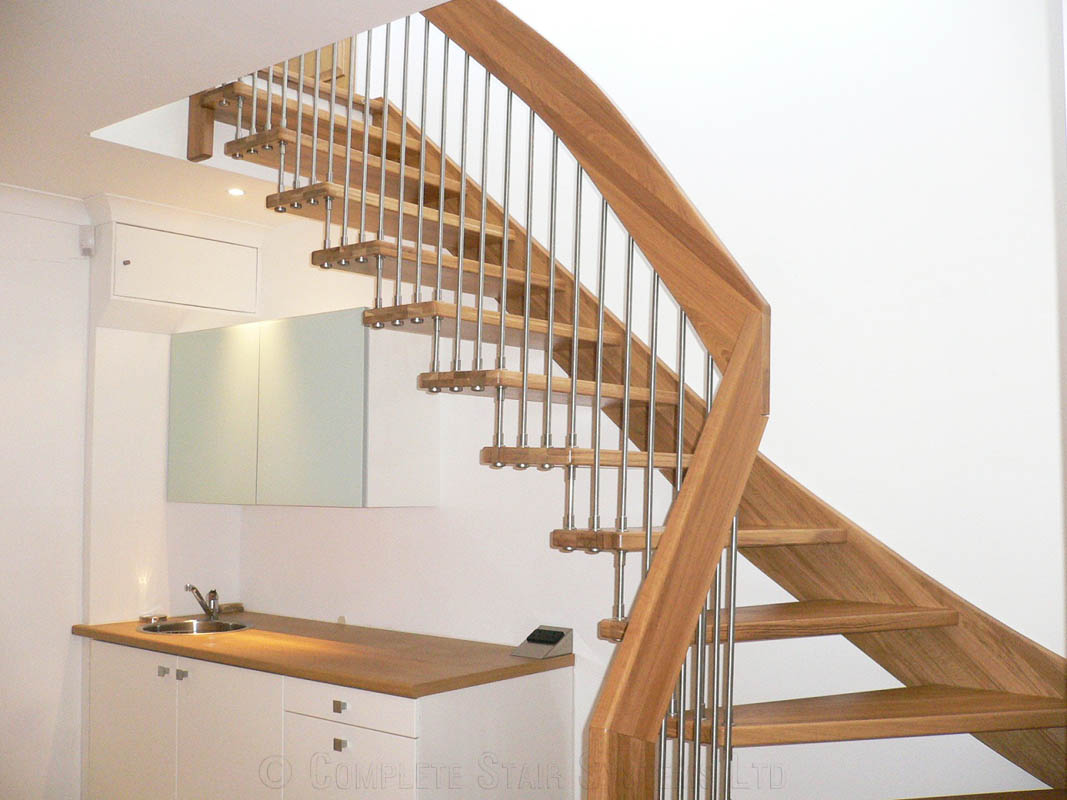Timber Staircase Stanmore With Open Risers Floating Design In A 1 4 Turn