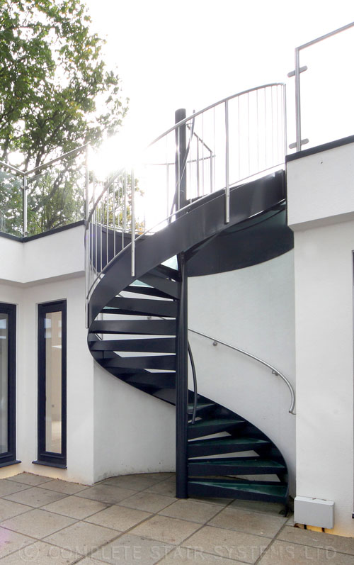 Spiral staircase rickmansworth external spiral with glass - Exterior metal spiral staircase cost ...