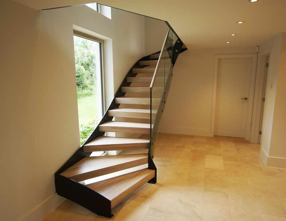 Staircase Regulations Uk >> Bespoke Staircase Alresford with glass balustrade and oak treads