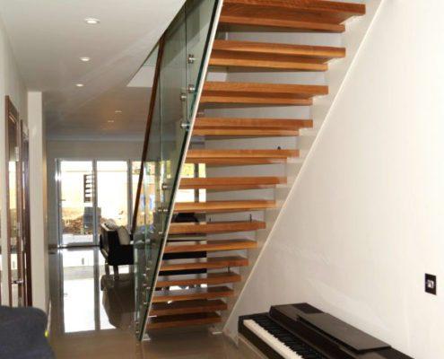 Modern timber tread straight flight stair