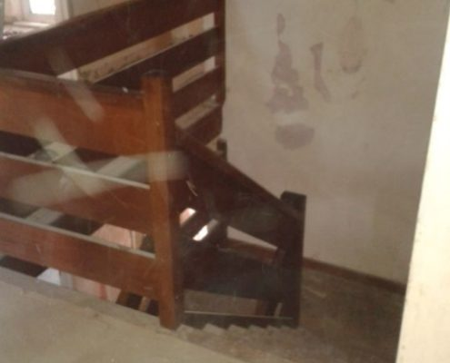 Top view of an older timber staircase before replacement
