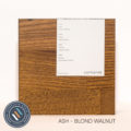 Ash timber sample in blond walnut finish