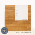 Ash timber sample in a light walnut finish