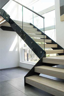 Modern staircase with steel structure