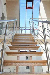 Modern staircase with timber treads