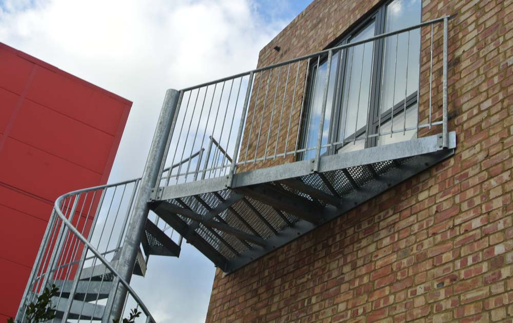 A domestic external spiral staircase in east London