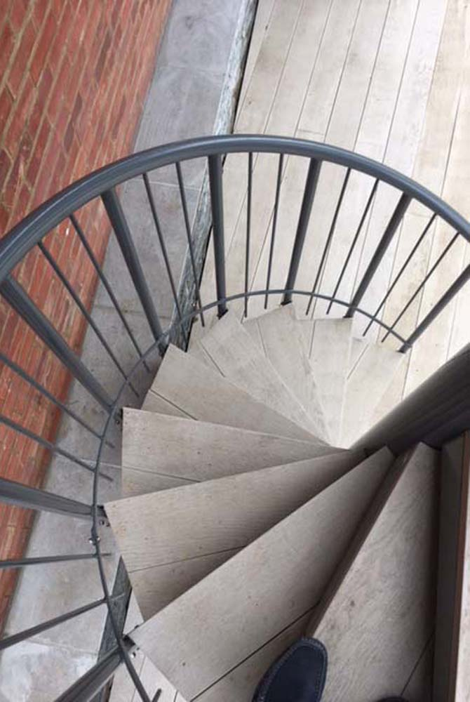 Domestic external spiral staircase in Beenham