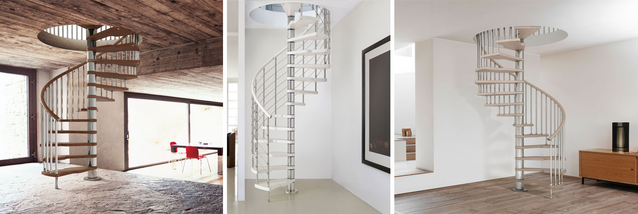 A collection of three Genius kit spiral staircases in different colours