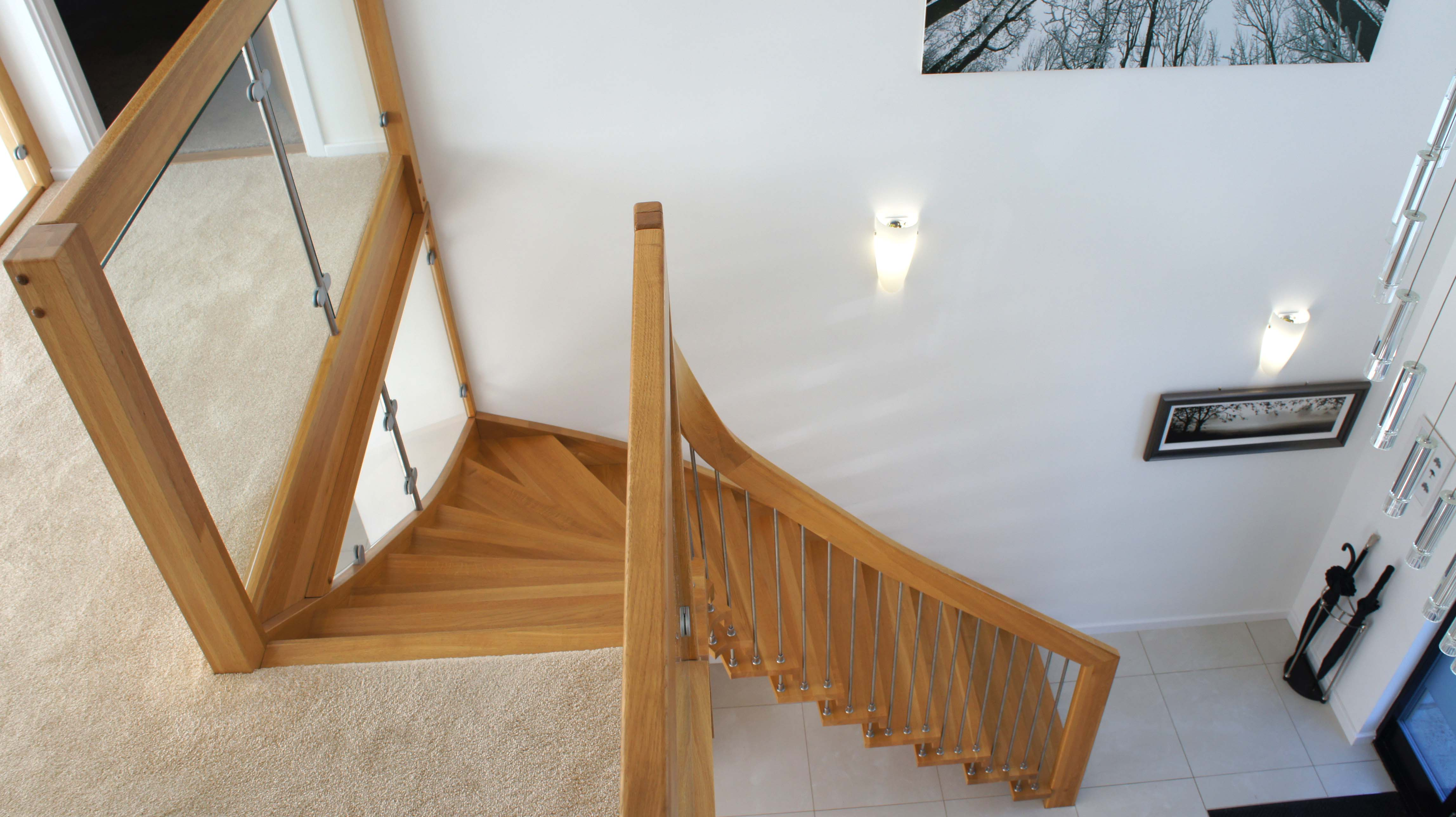 A top down view of a WF floating timber staircase in the New Forest