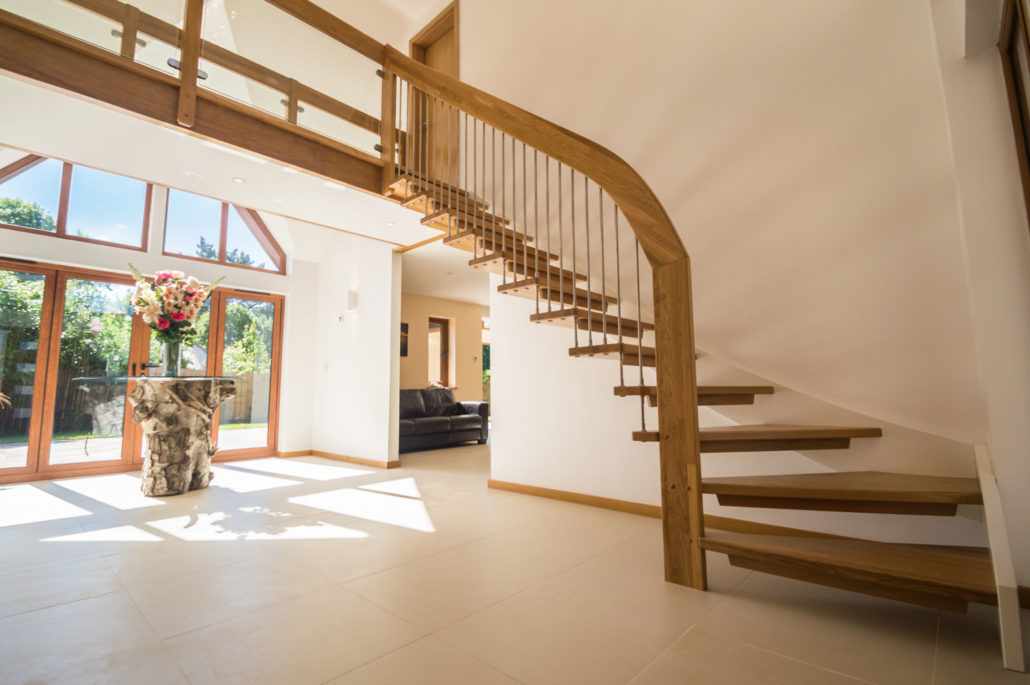 Floating Staircase Chilworth Solid Oak Treads Open